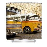 Vintage British Buses In Valetta Malta Shower Curtain