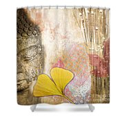 Vintage Buddha And Ginkgo Shower Curtain