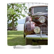 Vintage Caddy At Lake George Shower Curtain