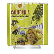 Vintage California Travel Poster Shower Curtain