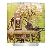 Vintage Camera And Case Shower Curtain