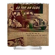 Vintage Car Advertisement 1939 Oldsmobile On Worn Faded Paper Shower Curtain
