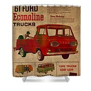 Vintage Car Advertisement 1961 Ford Econoline Truck Ad Poster On Worn Faded Paper Shower Curtain
