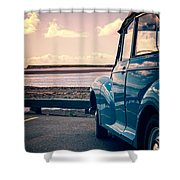 Vintage Car At The Beach  Shower Curtain