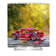 Vintage Car With Autumn Leaves Shower Curtain