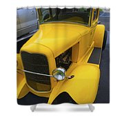 Vintage Car Yellow Shower Curtain