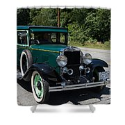 Vintage Cars Green Chevrolet Shower Curtain