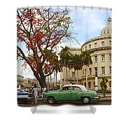 Vintage Cars Parked On A Street Shower Curtain