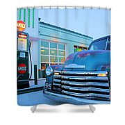 Vintage Chevrolet At The Gas Station Shower Curtain