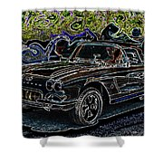 Vintage Chevy Corvette Black Neon Automotive Artwork Shower Curtain