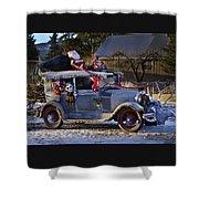 Vintage Christmas Car Shower Curtain