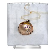 Vintage Christmas Ornament In Snow Shower Curtain