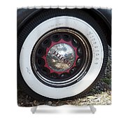 Vintage Chrysler Automobile Wide Whitewall Tire Poster Look Usa Shower Curtain