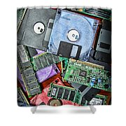 Vintage Computer Parts Shower Curtain by Paul Ward