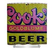 Vintage Cooks Goldblume Beer Sign Shower Curtain