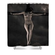 Vintage Crucifixion Shower Curtain