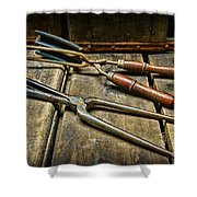 Vintage Curling Iron  Shower Curtain