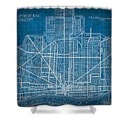 Vintage Detroit Rail Concept Street Map Blueprint Plan Shower Curtain