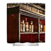 Vintage Druggist Shelf Shower Curtain