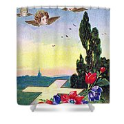Vintage Easter Card Shower Curtain