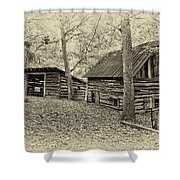 Vintage Farm Buildings Shower Curtain