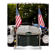 Vintage Ferguson Tractor With American Flags Shower Curtain