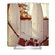 Vintage Film Camera On Picket Fence Shower Curtain by Edward Fielding