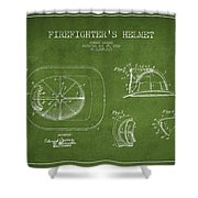 Vintage Firefighter Helmet Patent Drawing From 1932 - Green Shower Curtain