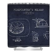 Vintage Firefighter Helmet Patent Drawing From 1932 - Navy Blue Shower Curtain