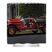Vintage Firetruck Shower Curtain by Susan Candelario