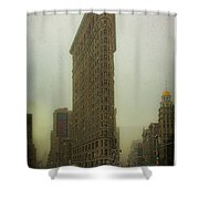 Vintage Flatiron In Winter Shower Curtain