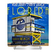Vintage Florida Travel Style Artwork Shower Curtain
