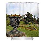 Vintage Flowerpots And Garden View - Powerscourt Garden Shower Curtain