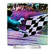 Vintage Formula 1 Race Checkered Flag  Shower Curtain