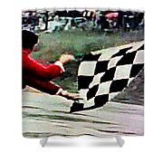 Vintage Formula Race Checkered Flag Shower Curtain