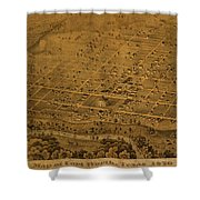 Vintage Fort Worth Texas In 1876 City Map On Worn Canvas Shower Curtain