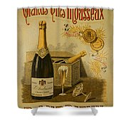 Vintage French Poster Andrieux Wine Shower Curtain
