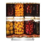 Vintage Fruit And Vegetable Preserves II Shower Curtain