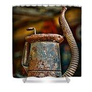 Vintage Garage Oil Can Shower Curtain