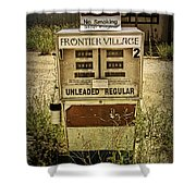 Vintage Gas Pump At An Abandoned Filling Station Shower Curtain