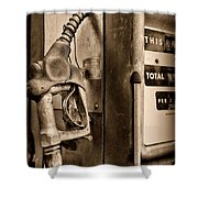 Vintage Gas Pump Showing Its Age Shower Curtain