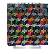 Vintage Geometric Cubes Shower Curtain