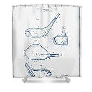 Vintage Golf Club Patent Drawing From 1926 - Blue Ink Shower Curtain