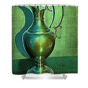 Vintage Green Pewter Pitcher Shower Curtain