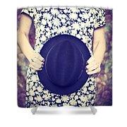 Vintage Hat Flower Dress Woman Shower Curtain