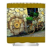 Antique Store Hay Rake And Bicycle Shower Curtain