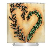 Vintage Heart Wreath Shower Curtain