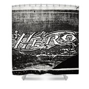 Vintage Hero Sign In Black And White  Shower Curtain