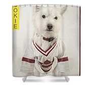Vintage Hockey Rookie Player Card Shower Curtain