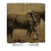 Vintage Horse Plow Shower Curtain